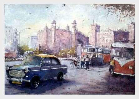 Amit Kapoor | Watercolor Painting title Mumbai on Handmade Paper | Artist Amit Kapoor Gallery | ArtZolo.com