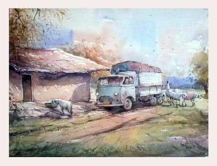 Old Van | Painting by artist Amit Kapoor | watercolor | Handmade Paper