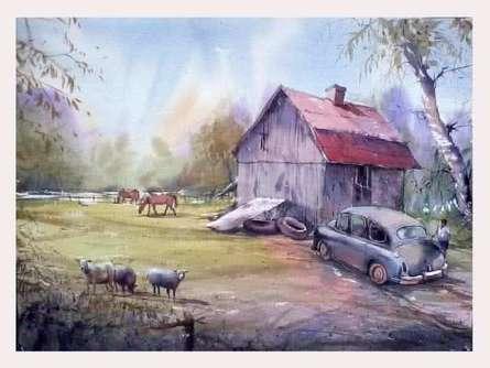 Landscape Watercolor Art Painting title Farm by artist Amit Kapoor