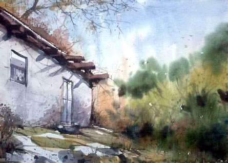 Landscape Watercolor Art Painting title House of Shimla by artist Amit Kapoor