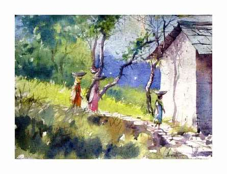 Village Women | Painting by artist Amit Kapoor | watercolor | Handmade Paper