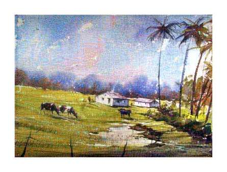 Landscape Watercolor Art Painting title 'Green Field' by artist Amit Kapoor