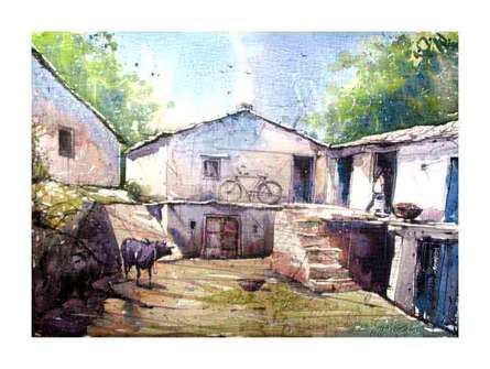 Landscape Watercolor Art Painting title 'Aangan' by artist Amit Kapoor