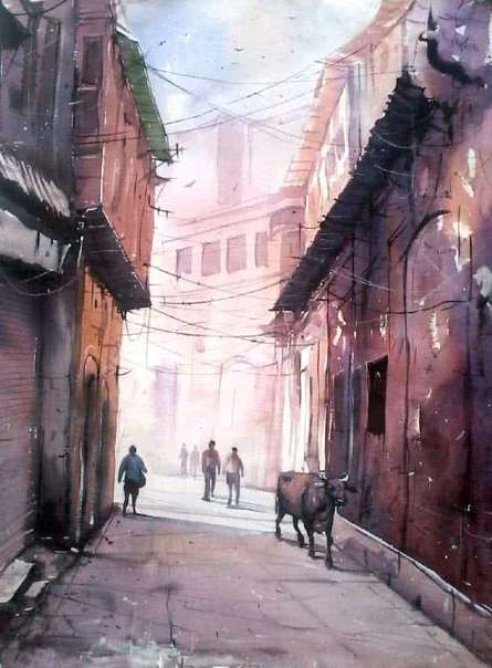Street Of Varanasi By Artist Amit Kapoor Watercolor