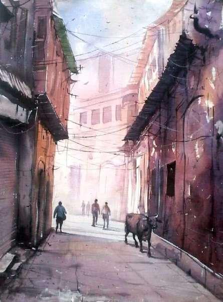 Street of Varanasi | Painting by artist Amit Kapoor | watercolor | Handmade Paper