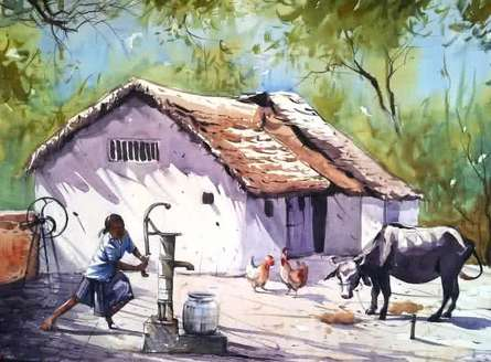 Landscape Watercolor Art Painting title Village House by artist Amit Kapoor