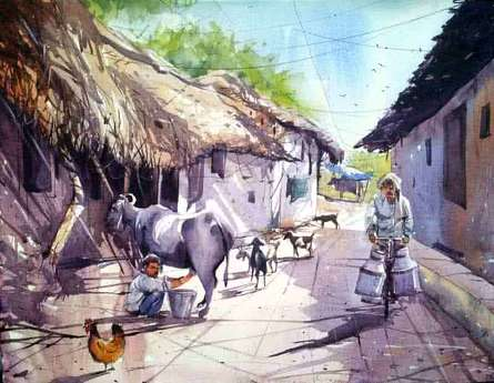 Landscape Watercolor Art Painting title 'Milk Man' by artist Amit Kapoor
