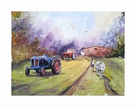 Landscape Watercolor Art Painting title 'Tractor' by artist Amit Kapoor