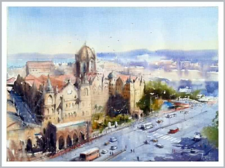 Cityscape Watercolor Art Painting title 'Csmt' by artist Amit Kapoor