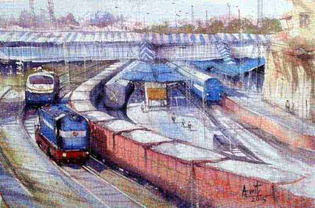 Cityscape Watercolor Art Painting title 'Kanpur Station' by artist Amit Kapoor