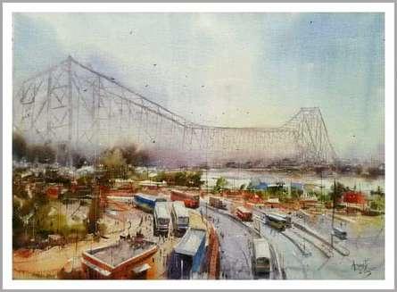 Howrah Bridge in Kolkata   Painting by artist Amit Kapoor   watercolor   Paper