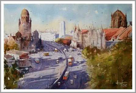 Mumbai II | Painting by artist Amit Kapoor | watercolor | Paper