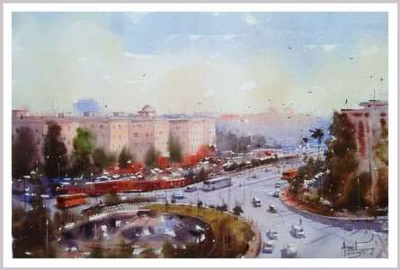 Cityscape Watercolor Art Painting title 'Rail Bhavan New Delhi' by artist Amit Kapoor
