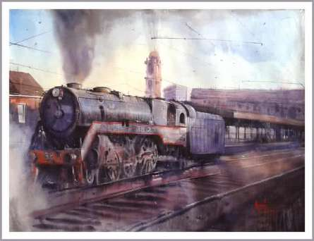 Cityscape Watercolor Art Painting title 'Steam Engine' by artist Amit Kapoor