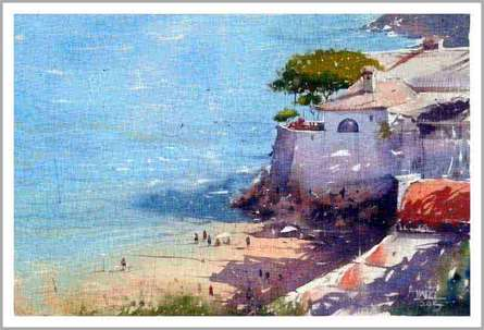 The Beach | Painting by artist Amit Kapoor | watercolor | Paper