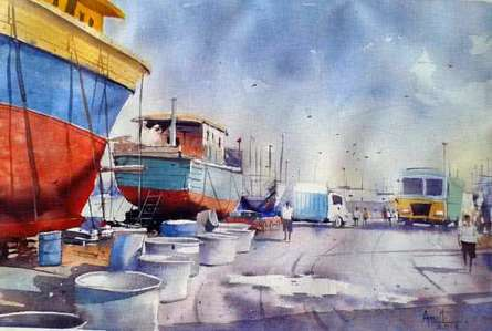 Cityscape Watercolor Art Painting title Vishakapatnam Port I by artist Amit Kapoor