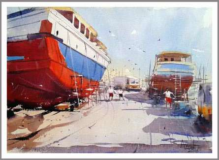 Cityscape Watercolor Art Painting title 'Vishakapatnam Port II' by artist Amit Kapoor