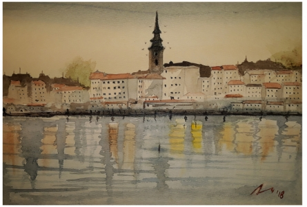 Cityscape Watercolor Art Painting title 'Belgrade Serbia' by artist Arunava Ray
