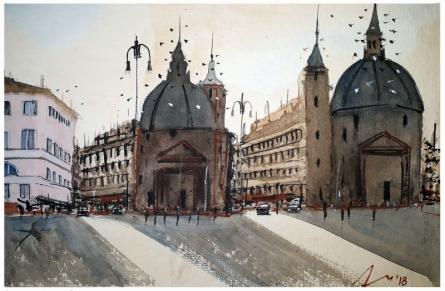 Cityscape Watercolor Art Painting title Belgrade Serbia by artist Arunava Ray