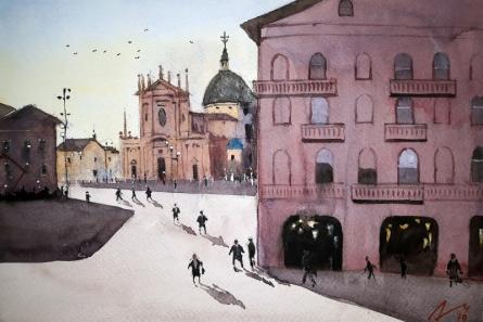Arunava Ray | Watercolor Painting title Busto Arsizio Italy on Paper | Artist Arunava Ray Gallery | ArtZolo.com