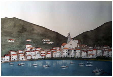 Cityscape Watercolor Art Painting title 'Cadaques Spain 2' by artist Arunava Ray