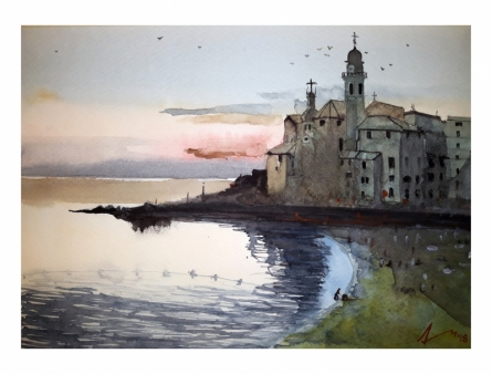 Cityscape Watercolor Art Painting title 'Camogli Italy' by artist Arunava Ray