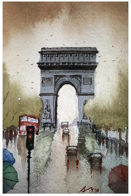 Cityscape Watercolor Art Painting title 'Champs De Elysees Paris France' by artist Arunava Ray