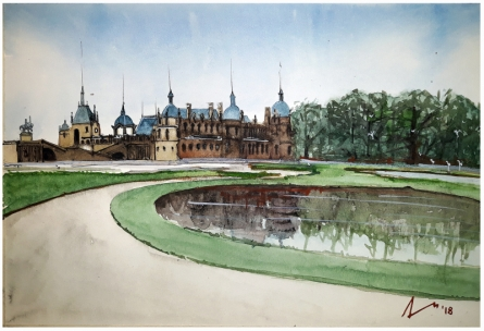 Cityscape Watercolor Art Painting title 'Chateau De Chantilly France' by artist Arunava Ray