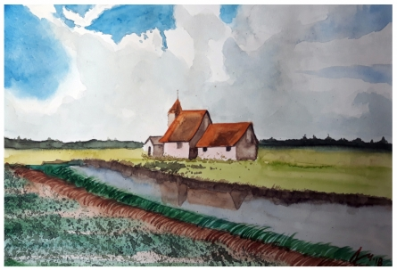 Cityscape Watercolor Art Painting title Church At Romney Marsh Kent England by artist Arunava Ray
