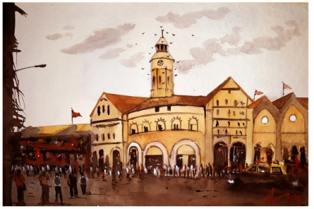 Cityscape Watercolor Art Painting title 'Crawford Market Mumbai' by artist Arunava Ray