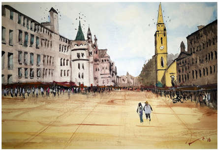 Cityscape Watercolor Art Painting title Edinburgh Royal Mile Scotland by artist Arunava Ray