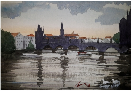 Cityscape Watercolor Art Painting title 'Evening At Charles Bridge Prague' by artist Arunava Ray