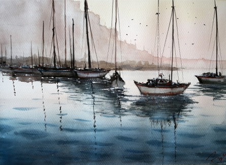 Seascape Watercolor Art Painting title 'Fishing Boats' by artist Arunava Ray