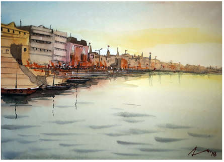 Cityscape Watercolor Art Painting title 'Ghats Of Varanasi' by artist Arunava Ray