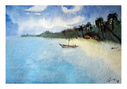Cityscape Watercolor Art Painting title 'Goa' by artist Arunava Ray