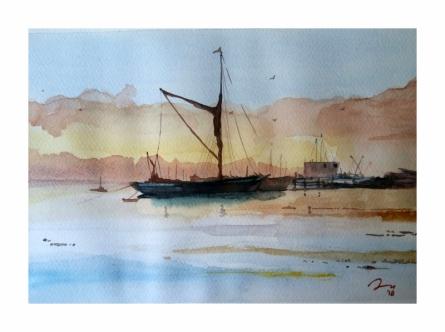 Cityscape Watercolor Art Painting title 'Goa Beach' by artist Arunava Ray