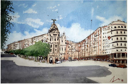 Cityscape Watercolor Art Painting title 'Gran Via Madrid Spain' by artist Arunava Ray