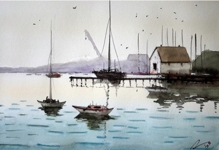Seascape Watercolor Art Painting title 'Harbour' by artist Arunava Ray