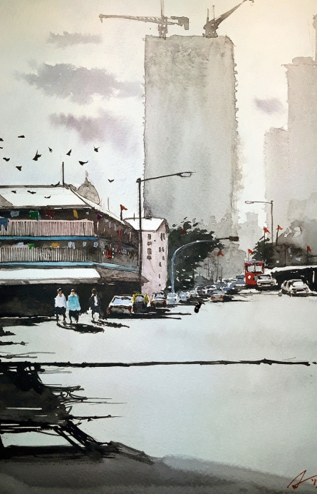 Cityscape Watercolor Art Painting title 'High And Low' by artist Arunava Ray