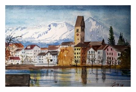 Cityscape Watercolor Art Painting title 'Interlaken Switzerland' by artist Arunava Ray