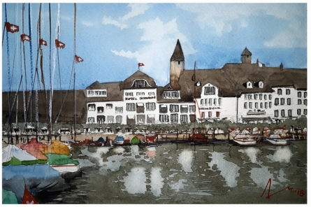 Cityscape Watercolor Art Painting title 'Lake Zurich Switzerland' by artist Arunava Ray