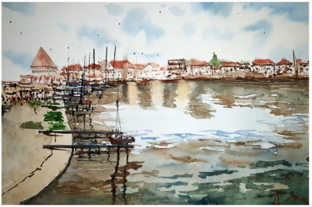 Cityscape Watercolor Art Painting title 'Lausanne Switzerland' by artist Arunava Ray