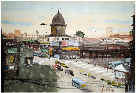 Cityscape Watercolor Art Painting title 'Manicktala More Kolkata' by artist Arunava Ray