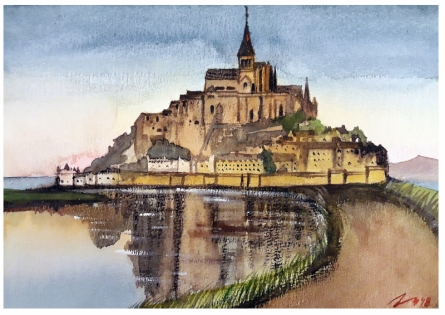 Cityscape Watercolor Art Painting title Mont Saint Michel Normandy France by artist Arunava Ray