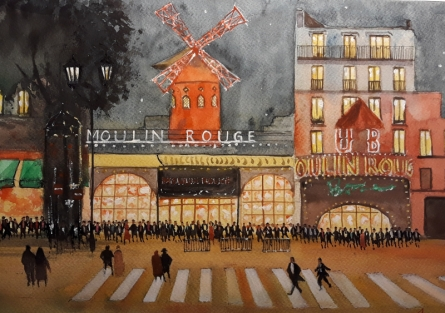 Arunava Ray | Watercolor Painting title Moulin Rouge At Night on Paper