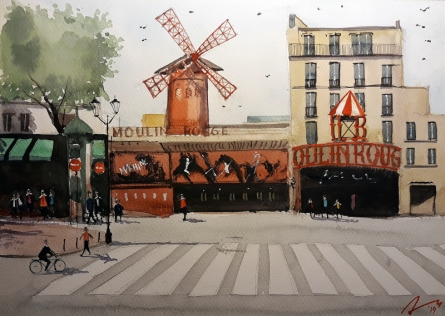 Cityscape Watercolor Art Painting title 'Moulin Rouge France' by artist Arunava Ray