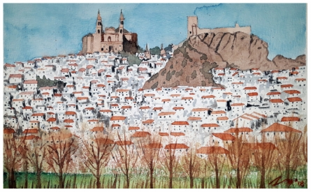 Cityscape Watercolor Art Painting title 'Olvera Spain' by artist Arunava Ray