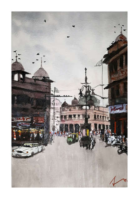 Cityscape Watercolor Art Painting title 'Panchbatti Jaipur' by artist Arunava Ray
