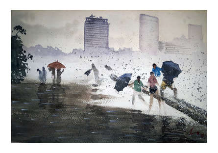 Cityscape Watercolor Art Painting title 'Raining In Mumbai' by artist Arunava Ray