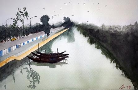 Arunava Ray | Watercolor Painting title Road Side Canal At Kolkata on Paper | Artist Arunava Ray Gallery | ArtZolo.com